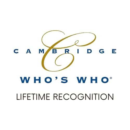 Cambridge Who's Who badge at Body Morph MD.